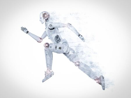 3d rendering humanoid robot running or jumping on white background