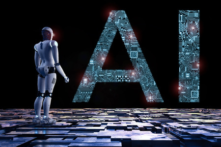 3d rendering humanoid robot with ai text in ciucuit pattern Stock Photo