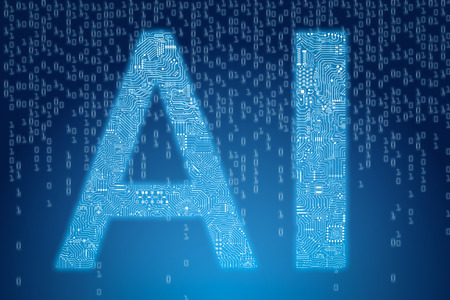 3d rendering ai text with circuit pattern on digital blue background