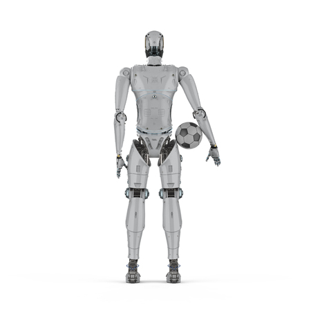 3d rendering humanoid robot with soccer ball Stock Photo