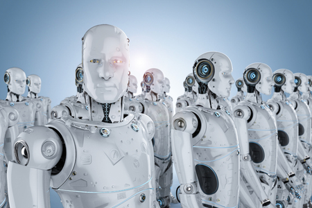 3d rendering group of humanoid robots in a row