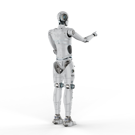 3d rendering humanoid robot finger point on white background