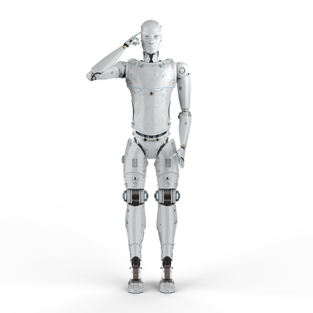 3d rendering humanoid robot thinking or computing on white background  Stock Photo