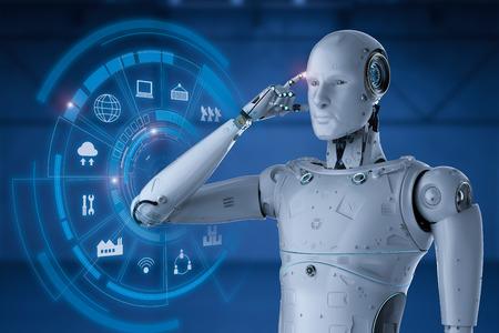 3d rendering robot working with hud display Banco de Imagens - 96373576