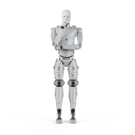 3d rendering humanoid robot thinking on white background  Фото со стока