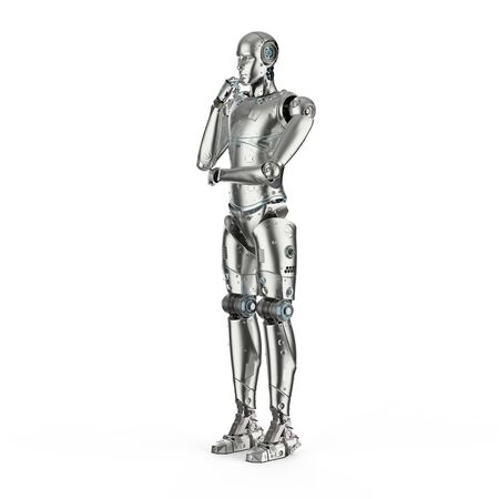3d rendering humanoid robot thinking on white background  Banco de Imagens