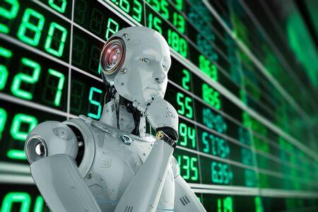 3d rendering humanoid robot analyze stock market Banco de Imagens