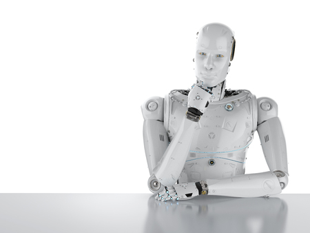3d rendering humanoid robot thinking on white background 写真素材 - 97300146