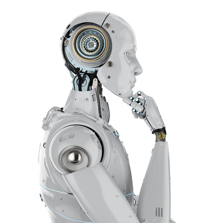 3d rendering humanoid robot thinking on white background