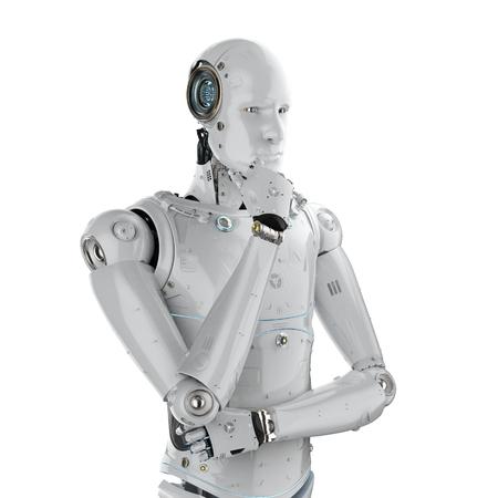 3d rendering humanoid robot thinking on white background  Stock Photo