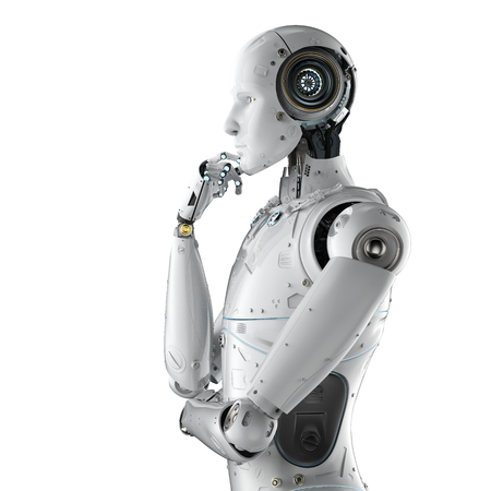 3d rendering humanoid robot thinking on white background  Stockfoto