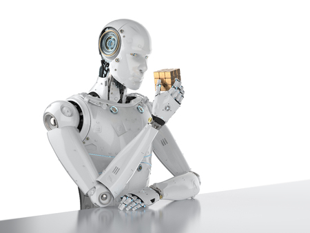 3d rendering humanoid robot playing cube puzzle  Stock Photo