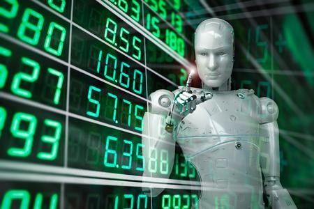 3d rendering humanoid robot analyze stock market Stock Photo