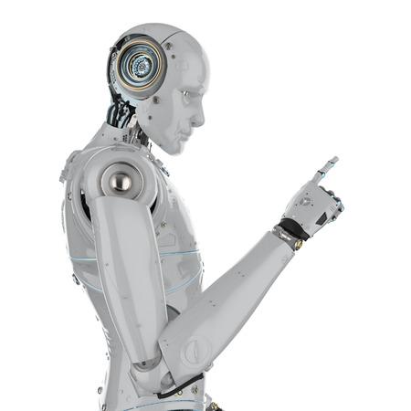 3d rendering humanoid robot point finger on white background Stock Photo