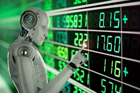 3d rendering humanoid robot analyze stock market Stock Photo