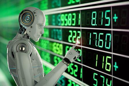 3d rendering humanoid robot analyze stock market Foto de archivo