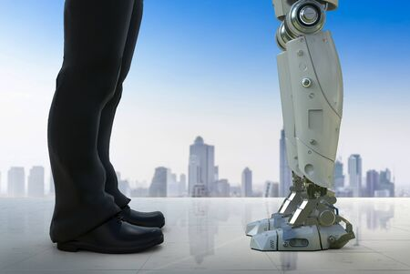 3d rendering businessman standing with robot in city