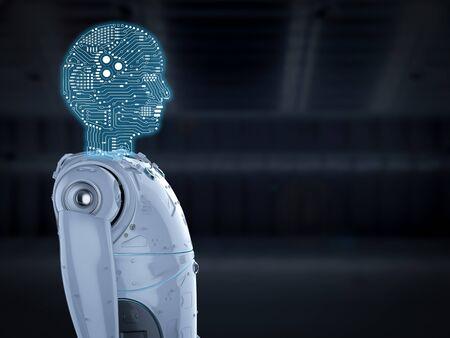 3d rendering humanoid robot with circuit brain  Stock Photo