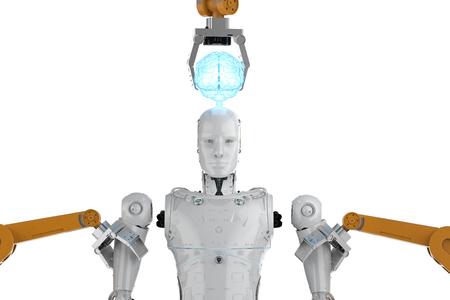 3d rendering robot arms assemble ai cyborg