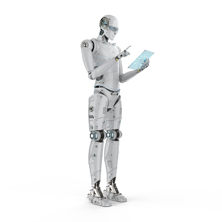 3d rendering humanoid robot working with digital tablet  Stock Photo