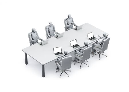 3d rendering robot working with laptop in office or conference room