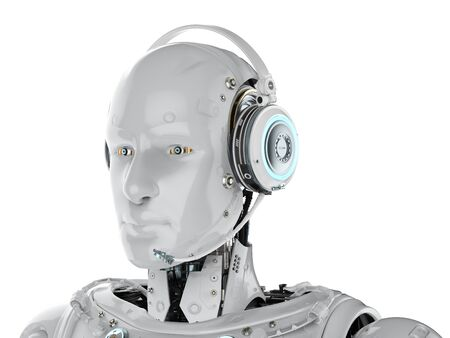 3d rendering humanoid robot with headset on white background