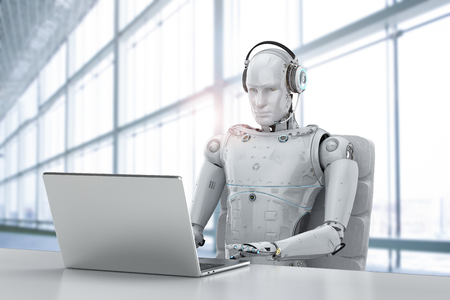 3d rendering humanoid robot working with headset and notebook