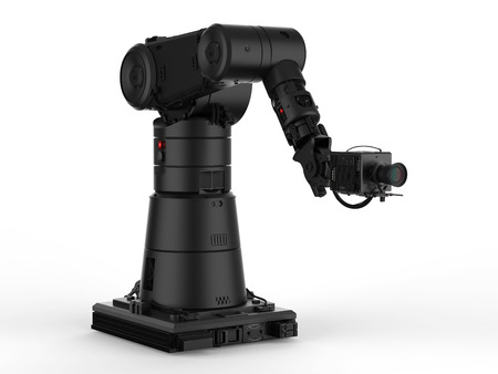 3d rendering black robot hand with camera or robotic camera