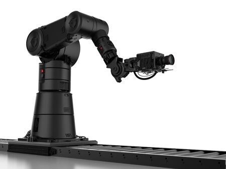 3d rendering black robotic camera with slider dolly    Stock Photo