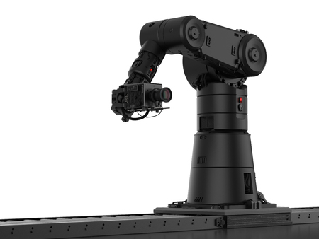 3d rendering black robotic camera with slider dolly    Фото со стока