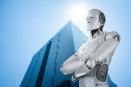 3d rendering humanoid robot arm crossed in city