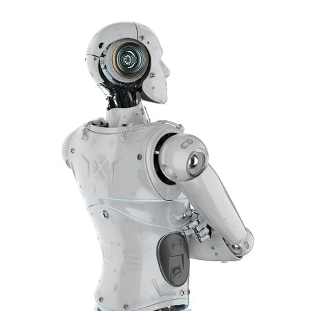 3d rendering rear view humanoid robot arm crossed on white background