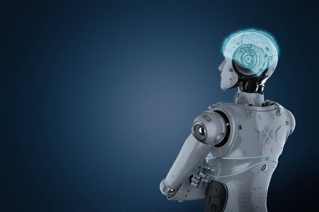 3d rendering humanoid robot arm crossed with ai brain Stock Photo