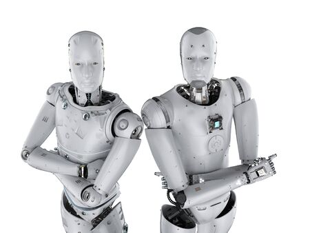 3d rendering humanoid robots arm crossed on white background