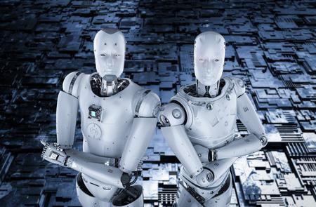 3d rendering two humanoid robots arm crossed