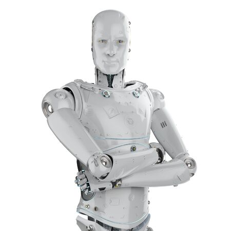 3d rendering humanoid robot arm crossed on white background