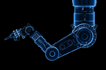 3d rendering x-ray robotic arm or robot hand isolated on black