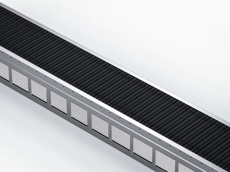 3d rendering empty conveyor belt isometric on white background