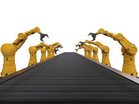 3D-Rendering-Roboterarme mit Förderband Standard-Bild