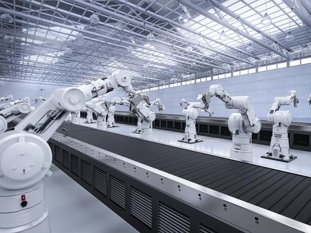 3d rendering robot arms with conveyor line Standard-Bild