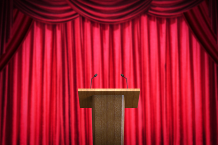 3d rendering wooden podium with microphone on red curtain background