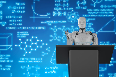 3d rendering robotic lecturer teaching on podium with display monitor  Stock Photo