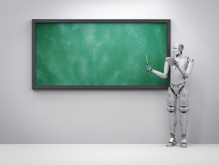 3d rendering cyborg teacher teaching with empty blackboard