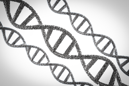 3d rendering silver dna helix or dna structure