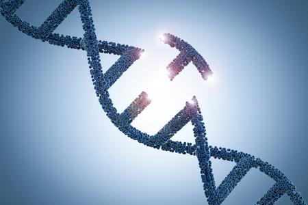 Concepto de ingeniería genética con hélice de adn de renderizado 3d y una parte de adn