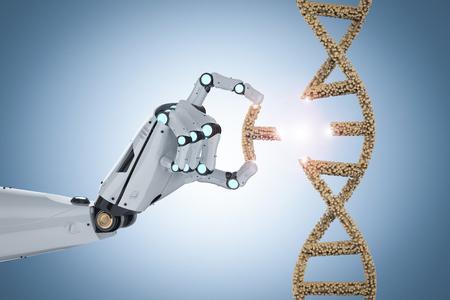 Genetic engineeering concept with 3d rendering robotic hand editing dna helix