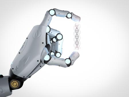 3d rendering robotic hand holding dna helix