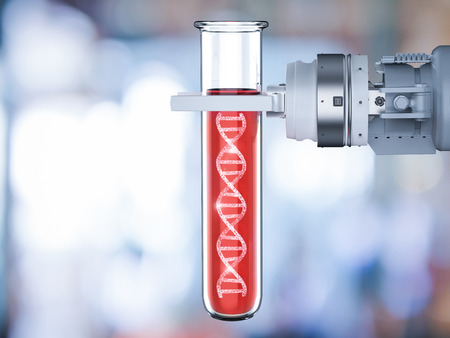 3d rendering robotic hand holding test tube with dna helix
