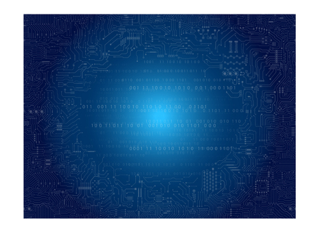 Circuit board pattern on blue background vector illustration.