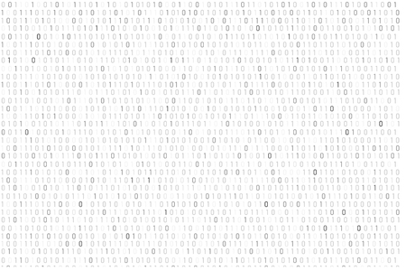 Binary code background in white and grey illustration.